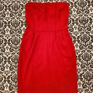 Express Red Strapless Dress
